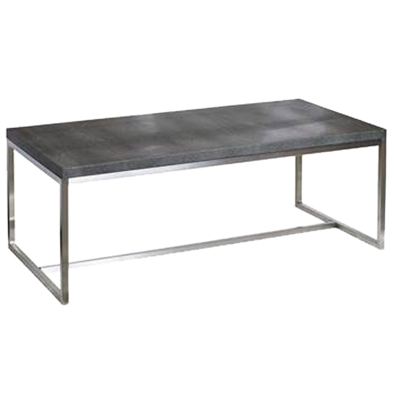 Metal coffee table with shagreen finish