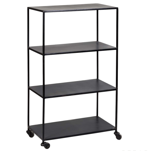 Matte black shelves with wheels