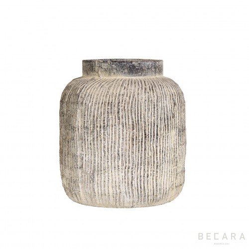 Medium grey striped pot