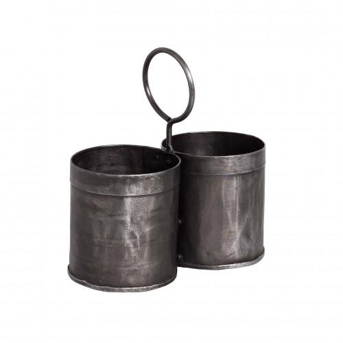 Set of metal flowerpots