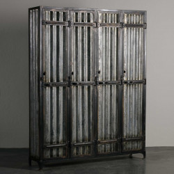 Corrugated metal cabinet with 4 doors