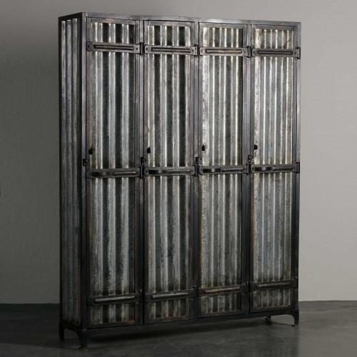 Armario de 4 puertas con metal ondulado