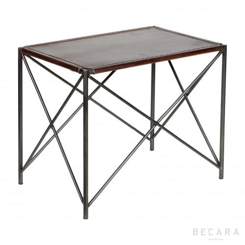 Banqueta de cuero marrón - BECARA