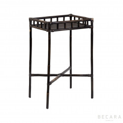 Black rattaln side table