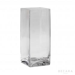 Tall transparent glass vase