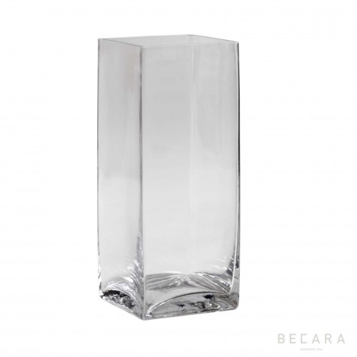 Tall transparent glass vase