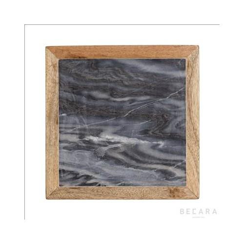 Tabla de mármol gris y madera