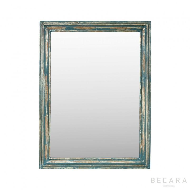Espejo con moldura dorada craquelada - BECARA