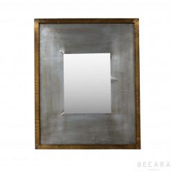 Espejo metal gris y plateado 44x54cm
