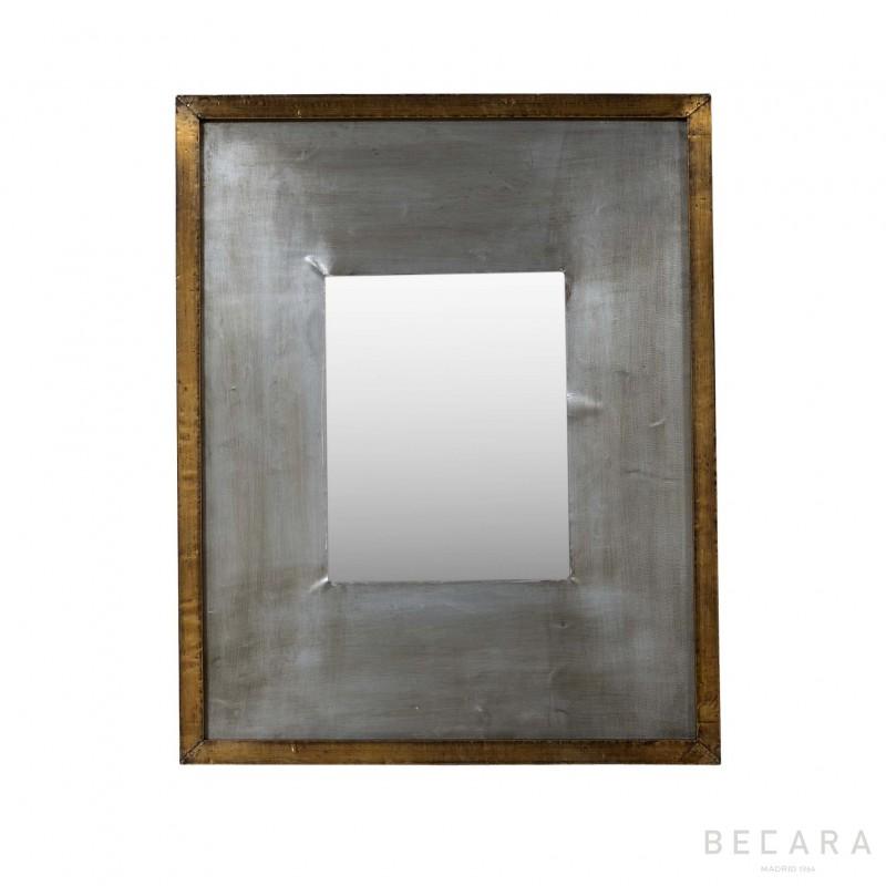 Espejo metal gris y plateado 44x54cm - BECARA