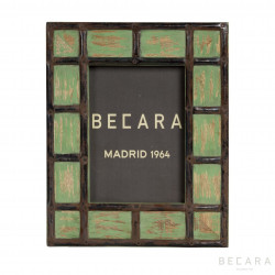 Green metallic squares frame