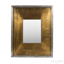 Espejo metal gris y dorado 44x54cm