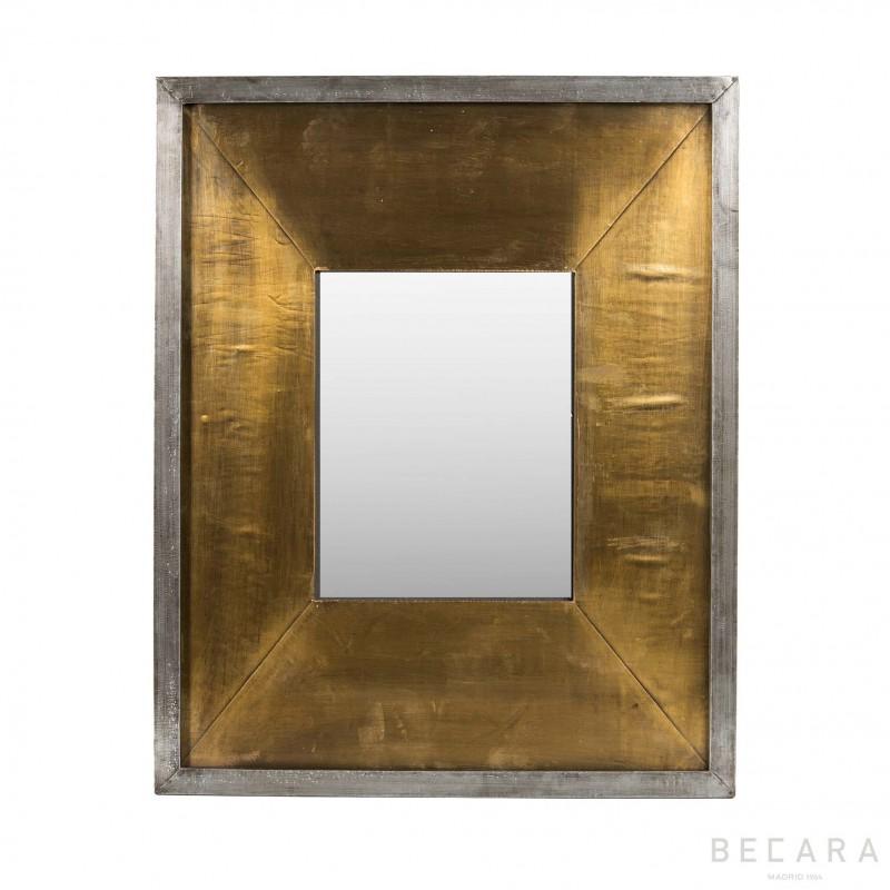 Espejo metal gris y dorado 44x54cm - BECARA