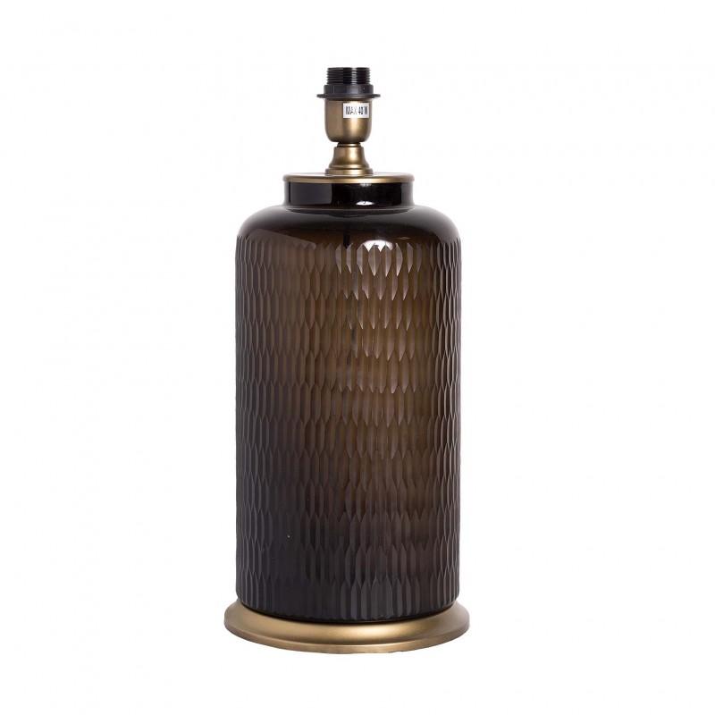 Smokey glass and bronce table lamp