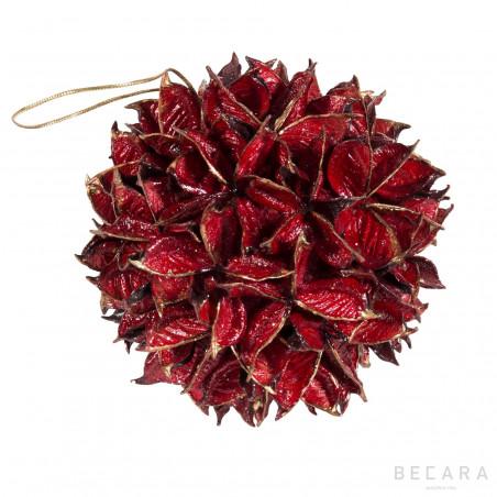 Bola de Navidad hojas rojas grandes