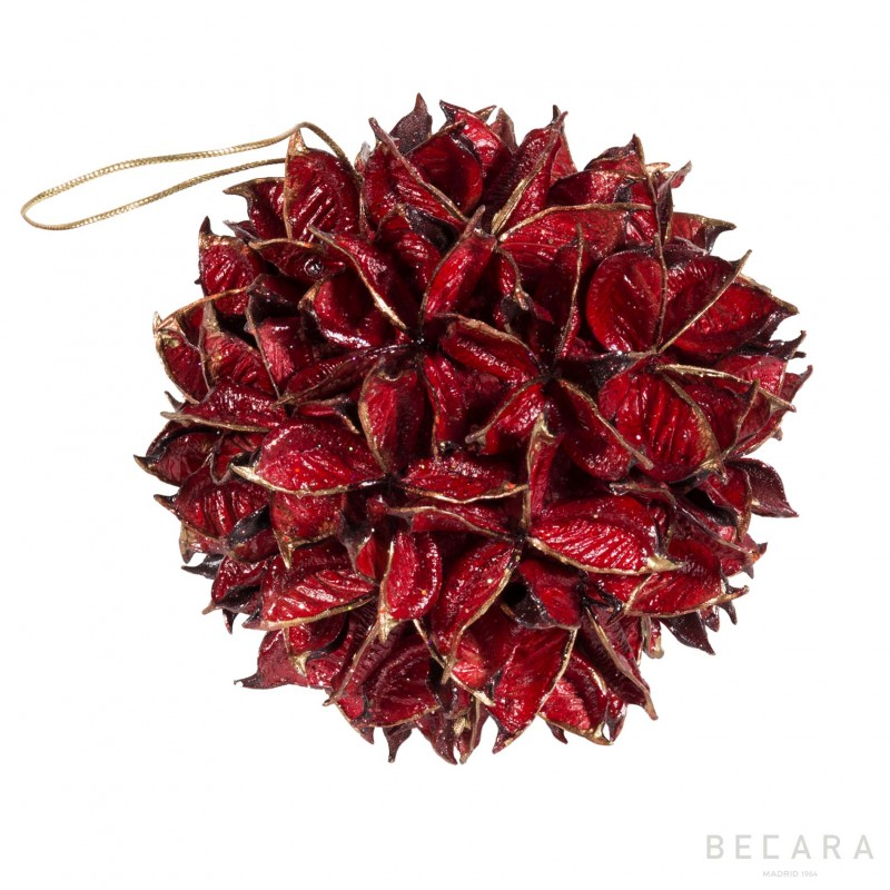 Bola de Navidad hojas rojas grandes - BECARA