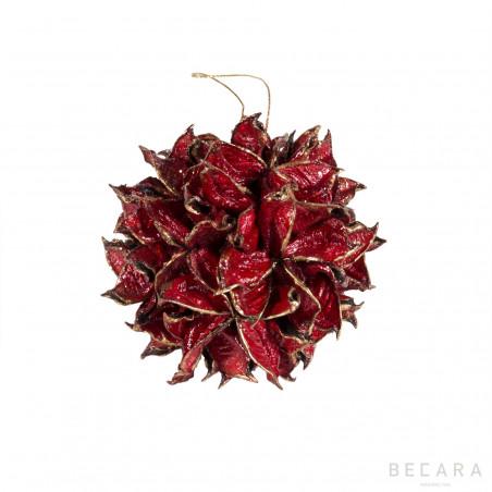 Bola de Navidad hojas rojas pequeñas