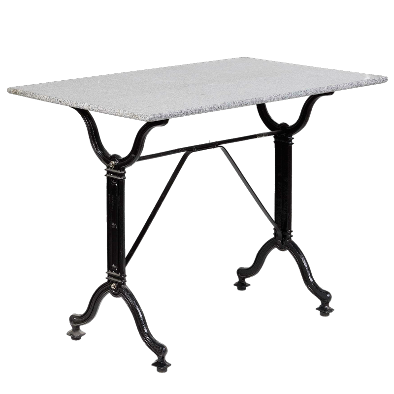 Iron side table with ash colored marble on top