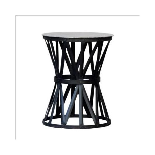 Mesa auxiliar pequeña redonda con tiras negras