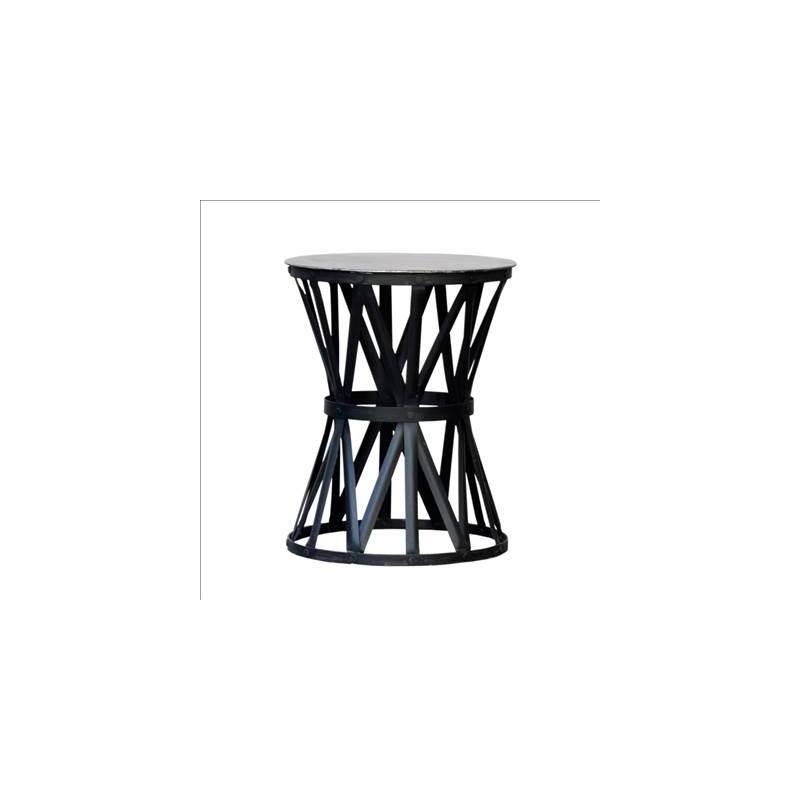Mesa auxiliar pequeña redonda con tiras negras - BECARA