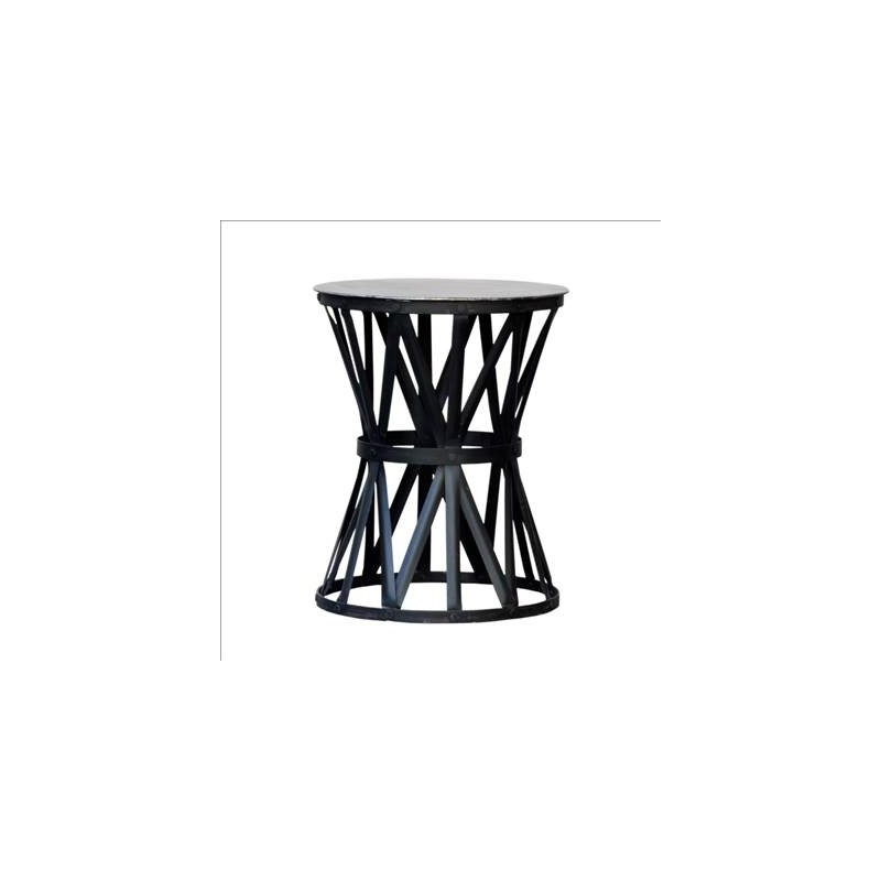 Round small side table with black strips