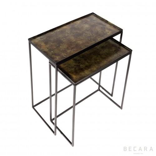 Set de 2 mesas auxiliares verdes - BECARA