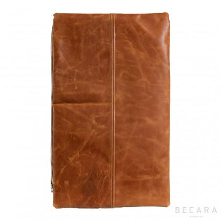 Vintage leather rectangular cushion