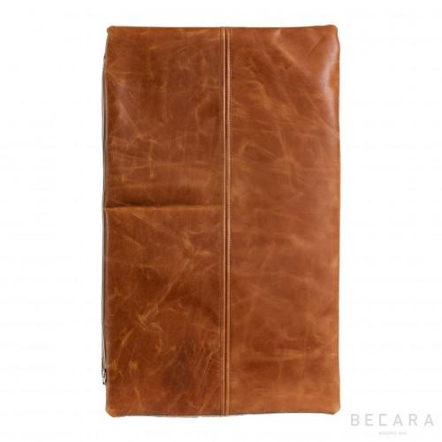 Cojín rectangular de cuero vintage
