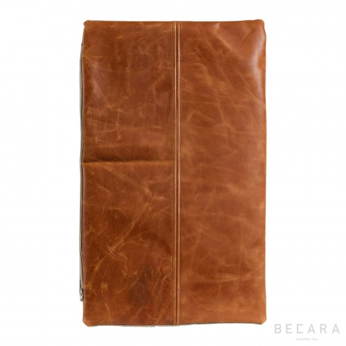 Vintage leather rectangular cushion
