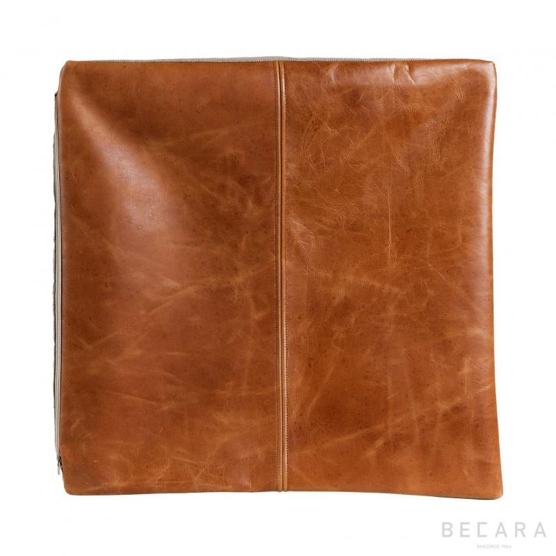 Vintage leather square cushion
