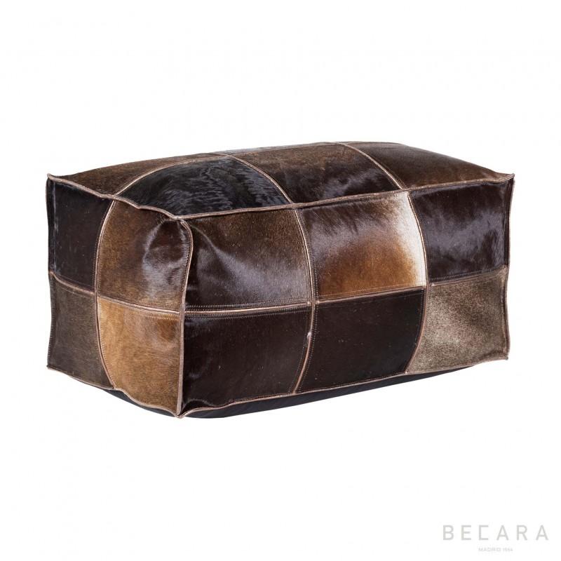 Puff de cuero vintage marrón - BECARA