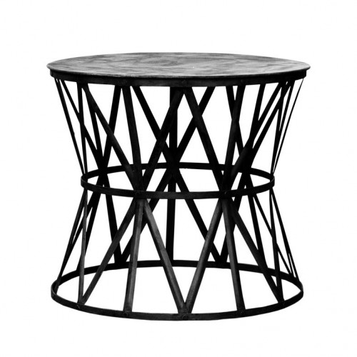 Metal strips side table