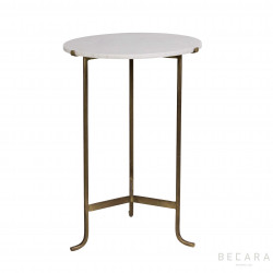White marbel and golden iron side table