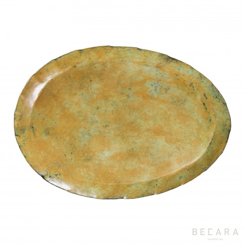 Big ocher oval tray