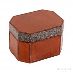 Octogonal leather box