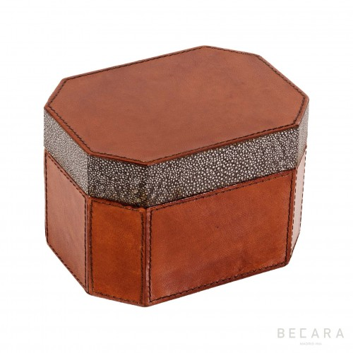 Octogonal leather box