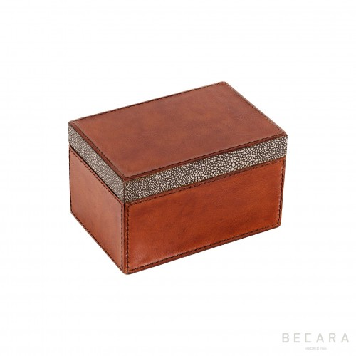 Small rectangular leather box