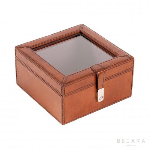 Caja de cristal y cuero grande - BECARA