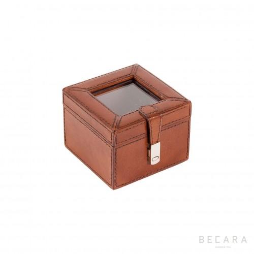 Caja de cristal y cuero pequeña - BECARA