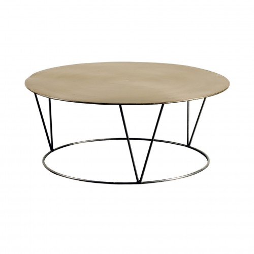 Round short nickel side table