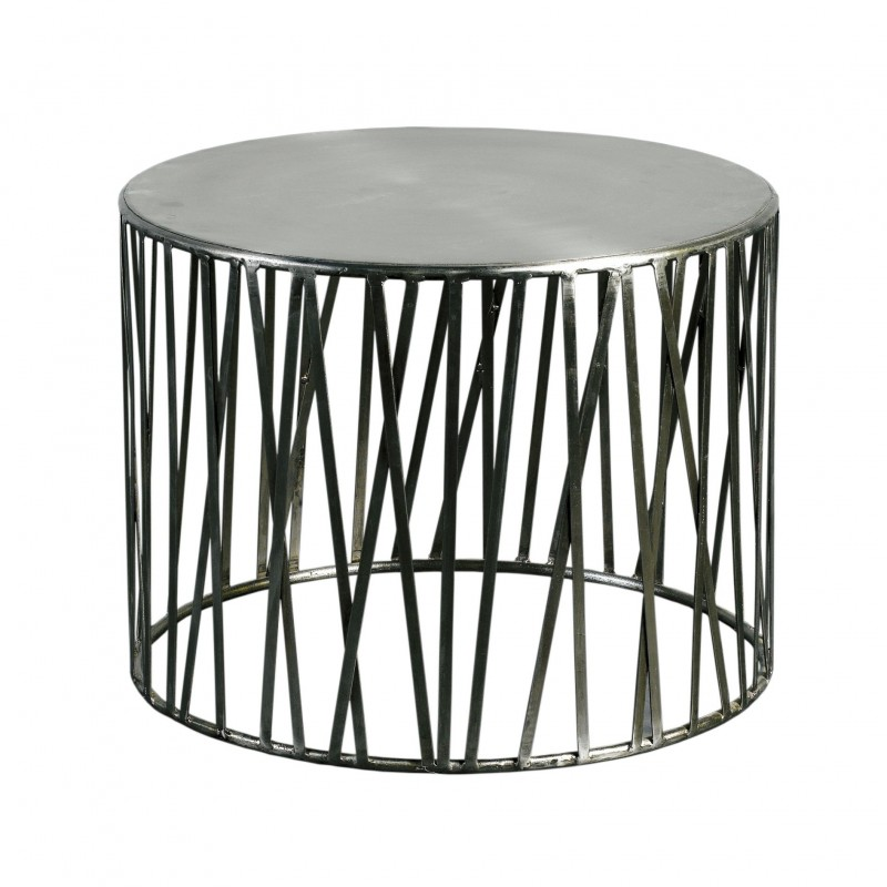 Drum side table with nickel strips