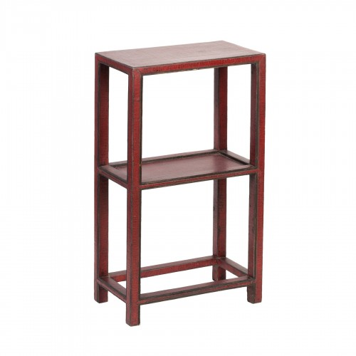 Red caviar finish side table with 2 shelves