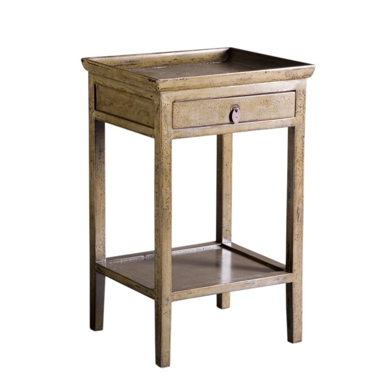 Gray elm wooden bedside table