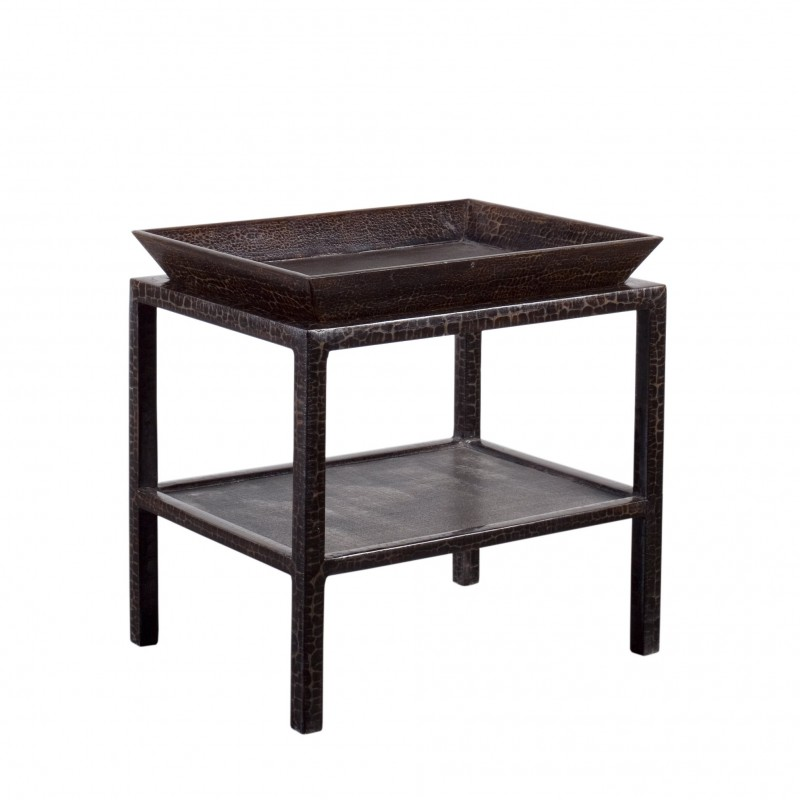 Caviar finish side table with tray