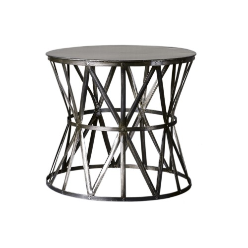 Round big side table with smoked strips