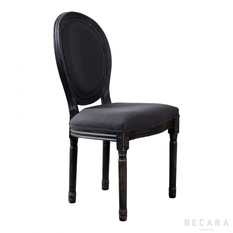 Dark chair with oval backrest