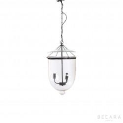 Lámpara de techo pequeña de cristal y bronce oscuro