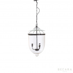 Small glass and dark bronze ceiling lamp