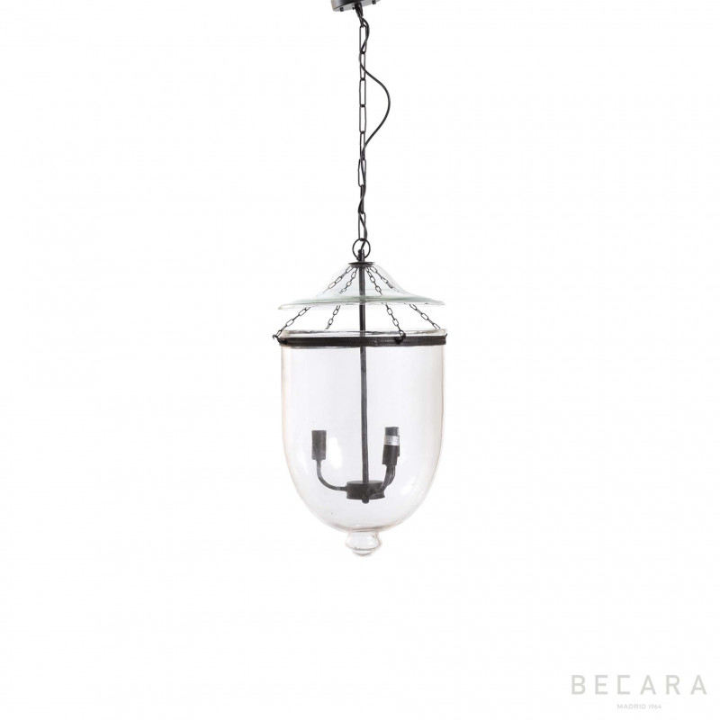Lámpara de techo pequeña de cristal y bronce oscuro - BECARA