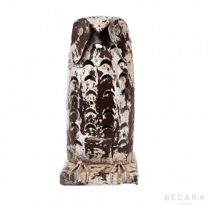 Portavelas búho de hierro - BECARA
